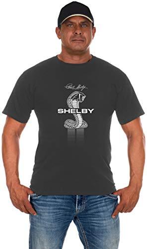 JH Design Men's Shelby Cobra T-Shirt Short Sleeve Charcoal Gray Shirt (2X, Gray)