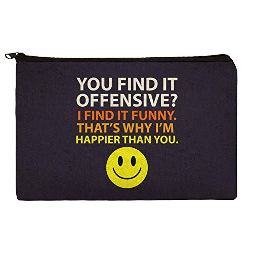 (Offensive Happier Than You Smile Face Funny Pencil Pen Organizer Zipper Pouch Case)