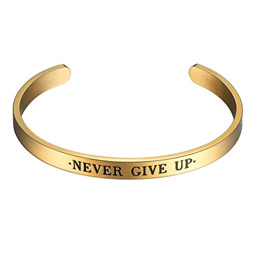 (PROSTEEL Cuff Bracelet,Bangle,Never Give Up,Bible Verse Bracelet,Scripture,18K Real Gold Plated,Men Jewelry,Inspirational Bracelets,Friendship Bracelets)