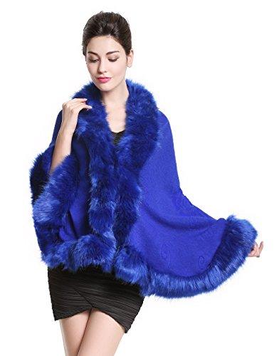 [luxury Women's Bridal Faux Fur Shawl Wraps Cape Cloak Coat-S55 Ivory] (Black And White Cape)