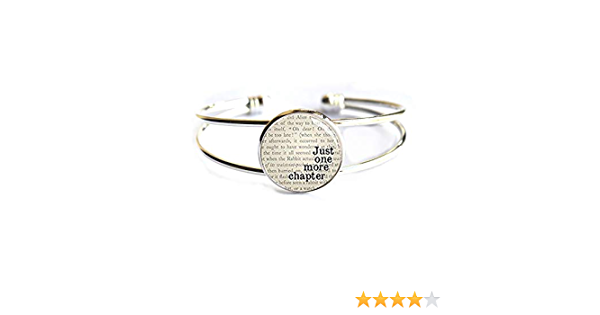 Just One More Chapter Bangle,Bibliophile Book Lovers Bracelet,Gifts for Readers and Writers,Bookish Jewelry-#44