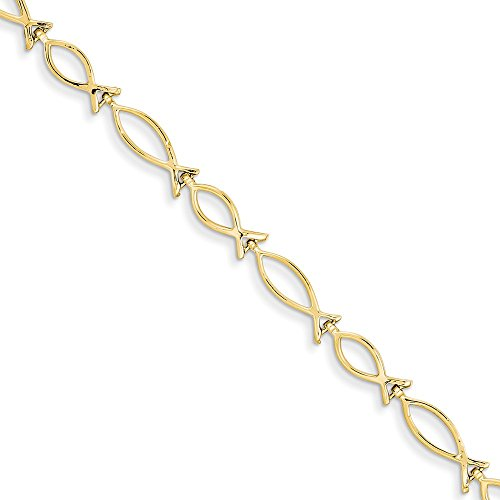 (14K Yellow Gold 5mm Religious Icthus (Fish) Bracelet)