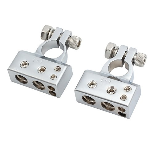AUTOUTLET 2PCS Car Battery Terminal 4/8 Gauge AWG Chrome Battery Terminals Connector Kit Positive & Negative Set by AUTOUTLET (Image #4)