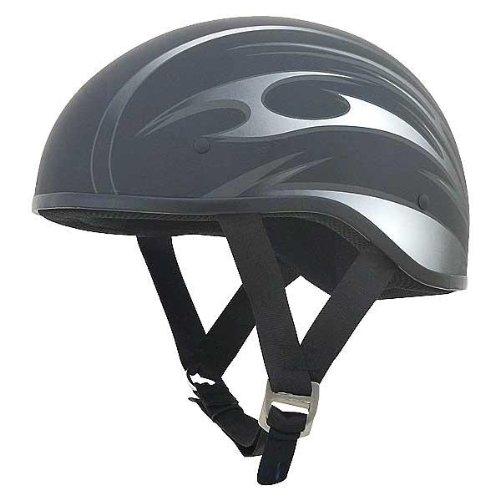 nie Helmet Half Graphic Black/Flat Silver MD (Afx Beanie Half Helmet)