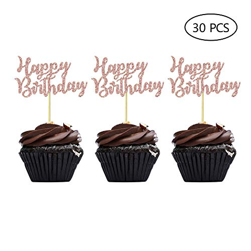 Cupcake Birthday Cakes (Rose Gold Happy Birthday Cupcake Topper Picks for Celebrating Birthday Party Decorations)