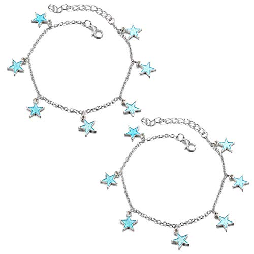 - TENDYCOCO Women Girls Bohemian Anklet Summer Beach Glow Anklet Blue Night Light Twinkle Pentagonal Star Tassel Ankle Chain Accessories for Girls Luminous Bracelet - 2 pcs