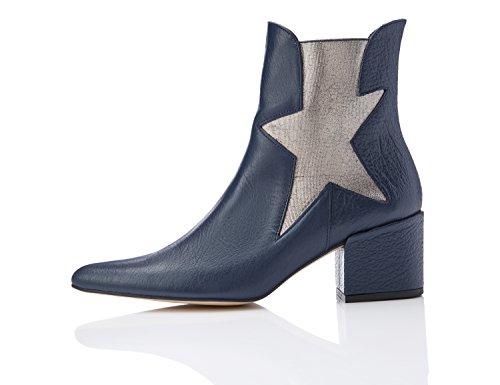 FIND Botines Estilo Chelsea con Estrella para Mujer Azul (Blue)