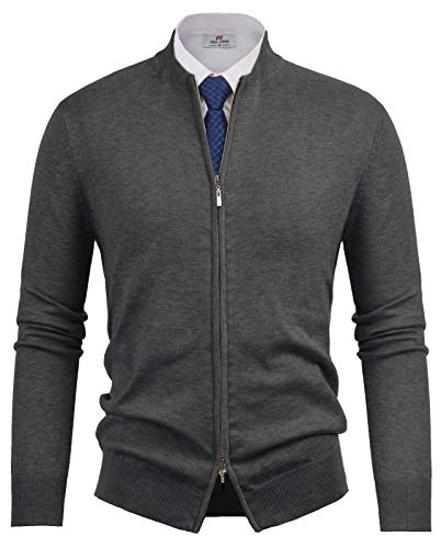 PAUL JONES Mens Casual Full-Zip Cardingan Sweater Stand Collar Long Sleeve Baseball Jacket Dark Grey, Size S ()