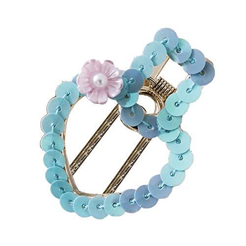 - Fashion Sequined Hollow Heart Floral Faux Pearl Hairpin Women Hair Clip Barrette - Blue