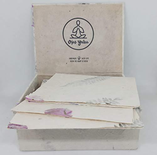 Ecofriendly Handmade Lokta Greeting Card & Envelope Box Set 15 Blank Vintage Cards With Envelopes - Handmade Paper in Nepal - Premium Cards (Bougainvillea & Persian Silk)