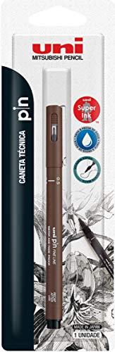 Caneta Técnica Uniball PIN 0.5mm, Sépia, Blister com 1 unidade