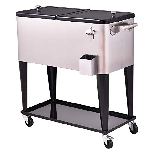 Giantex 80 Quart Patio Cooler Rolling Cooler Ice Chest with Shelf, Wheels and Bottle Opener, Stainless Steel Ice Chest Portable Patio Party Drink Cooling Cart Beverage Cooler Cart (Black & Sliver) ()