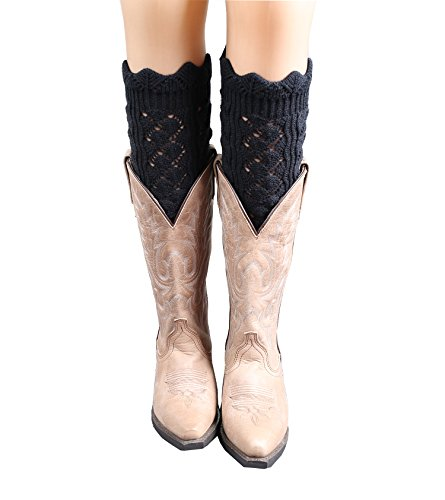[Geoot Women Knitted Jacquard Hollow-out Boot Cuffs Leg Warmers Socks Boot Cover (Style4-Black)] (Furry Boots Cheap)