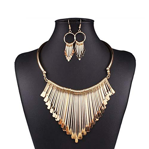 AEVIO Metal Fringe Collar Necklace with Earring Bib Statment Chunky Choker Teardrop Sequins Pendant Fashion Jewelry for Women and Girls