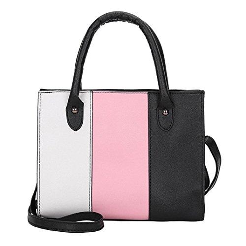 huichang Color Blocking Leather Messenger Crossbody Satchel Tote Handbag Shoulder Bag for Women Girl Pink