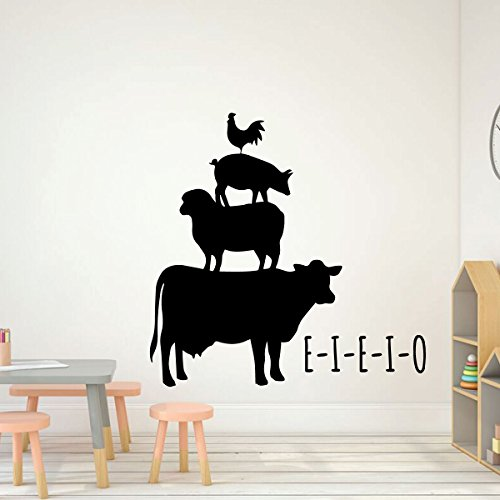 Children Room Decor - Chicken, Pig, Sheep, Cow - E-I-E-I-O - Decoration for Bedroom, Playroom or Nursery Room