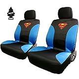Pair of New DC Comic Superman Sideless Neoprene Waterproof Car Seat Covers with Air Freshener