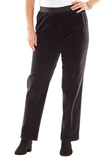 Polished Cotton Blazer (Jessica London Women's Plus Size Corduroy Straight Leg Pull-On Pants Black,20)