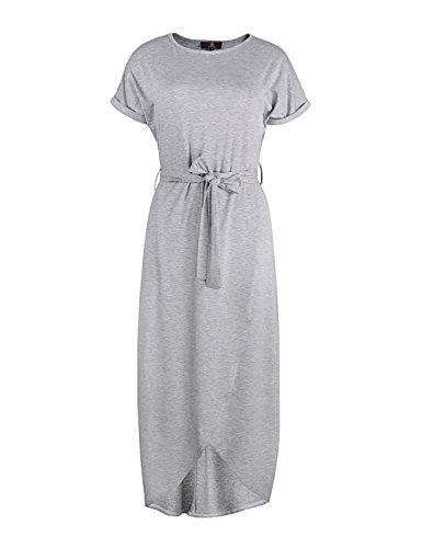 ISASSY - Vestido - Con cortes - Básico - Cuello redondo - Manga corta - para mujer gris
