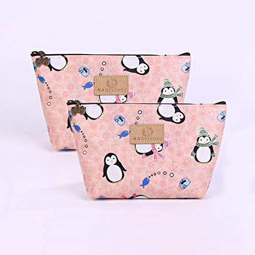 ZoCr 2Pcs Make-Up Cosmetic Tote Bag Carry Case, Portable Travel Makeup Case Pouch Toiletry Wash Organizer (Penguin 2pcs)