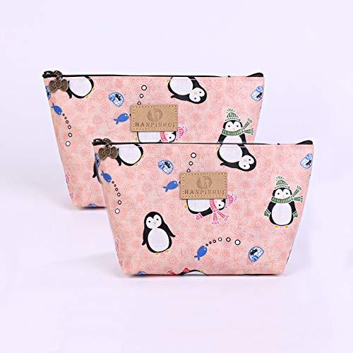 ZoCr 2Pcs Make-Up Cosmetic Tote Bag Carry Case, Portable Travel Makeup Case Pouch Toiletry Wash Organizer (Penguin 2pcs)