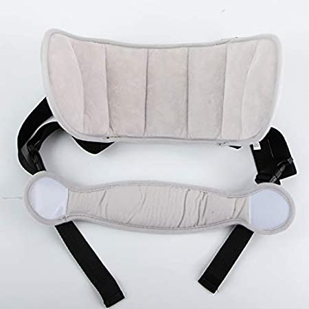 Grey Cloud Child Car Seat Head Support Band Carseat Straps Covers Slumber Sling Safe Sleep Solution for Car Plane Travel