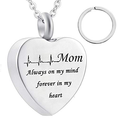dad and mom Cremation Jewelry Cardiogram Necklace Silver Always in My Heart Memorial Necklace Ashes Keepsake Pendant (mom) ()