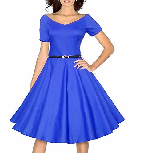 Vestido Mujer Con Cuello En V De Media Manga Del Vestido Delgado Grande Blue