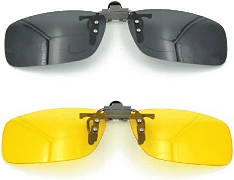 Besgoods 2PCS (Yellow Night Vision+Black) Cycling Sport Polarized Clip-on Sunglasses