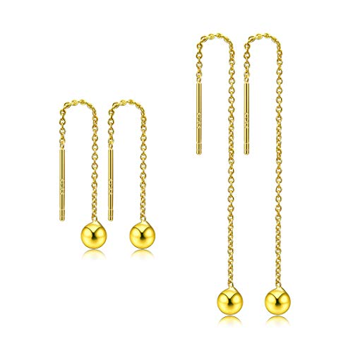 CAT EYE JEWELS Threader Earrings 925 Sterling Silver Dangle Drop Earrings Gold 5cm+3cm ()