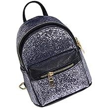 Tinksky Mini Backpack Bling Bling Sequins Tiny Backpack Satchel School Bag Korea Style Christmas Birthday Gift for Women Girls (Silver)
