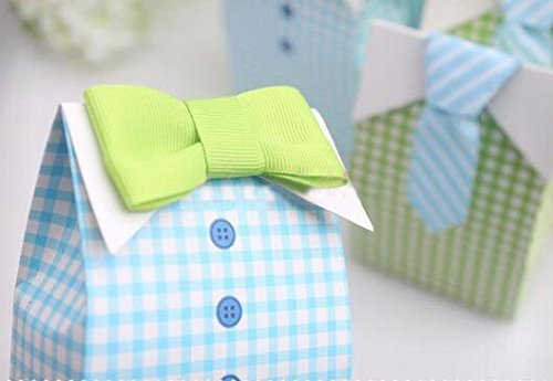 Adeeing 50pcs My Little Man Blue Green Bow Tie Birthday Boy Baby Shower Favor Candy Box for Wedding favor, Birthday (Shower Favor Boxes)