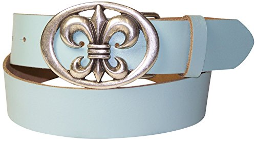 Lis Fleur Buckle Belt White De - FRONHOFER Women's belt, fleur de lis, oval floral buckle, interchangeable, Size:waist size 39.5 IN XL EU 100 cm, Color:White