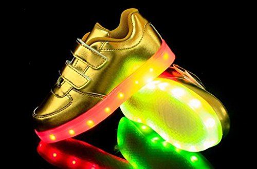 [Presente:pequeña toalla]JUNGLEST (TM) Unisex 7 Colors USB Carga LED Luz Luminosas Flash Zapatos Zapatillas de Depo c25