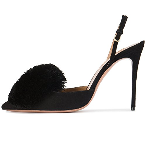 Kmeioo Pumps for Women,Puff Pompom High Heels Pointed Toe Slingback Pumps Stiletto Heel Sandals Evening Party Wedding Shoes-US 10M