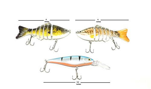 Optimum Saltwater (Toro Supply Co. 3-Pack Swimming Crankbait Lures For Freshwater or Saltwater Fishing Realistic Look with Large Barbed)