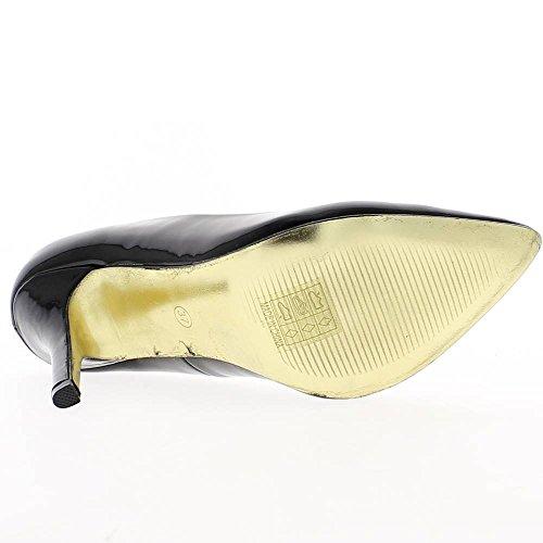 Escarpins noirs vernis pointus à talon de 10,5cm