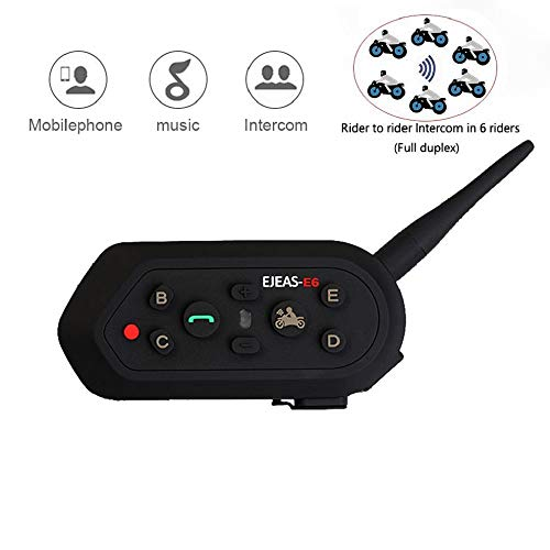 (EJEAS-E6 BT Bluetooth Intercom 1300m 6 Riders Full Duplex Talk Waterproof Wireless Motorcycle Helmet Interphone Headset with Walkie-Talkie Sports Skiing Climbing (1 Pack))
