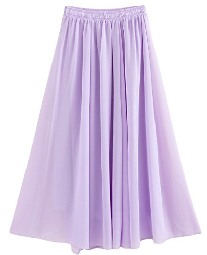 Solida Retro Donna Colore Purple2 Elastica maxi Gonna gonna lunga pieghettato 6fYqfO