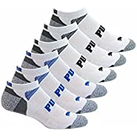 PUMA 6-Pack Low Cut Socks Side Logo (Extended Size (Shoe Size 12-16), White)