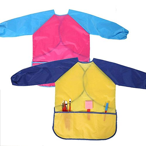 M-jump 2 Pack Kids Art Smocks, Children Waterproof Artist Painting Aprons Long Sleeve with 3 Pockets for Age 2-6 Years (set of (Childrens Vinyl Artist Smock)
