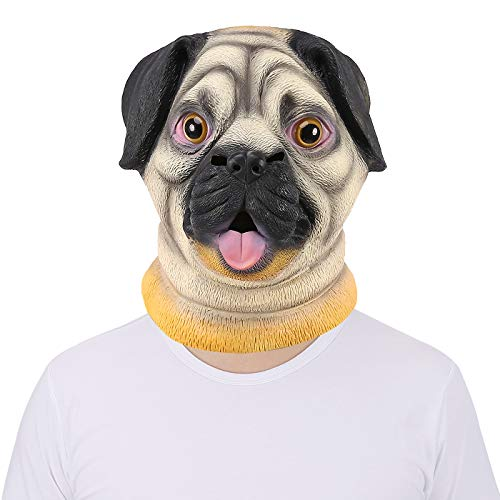 HDE Creepy Funny Animal Head Mask Latex Rubber Halloween Costume Accessory (Pug Dog) -
