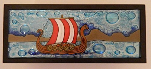 Viking Ship Fused Art Glass Rectangular Wooden Treasure Box Lodge Made Ecuador
