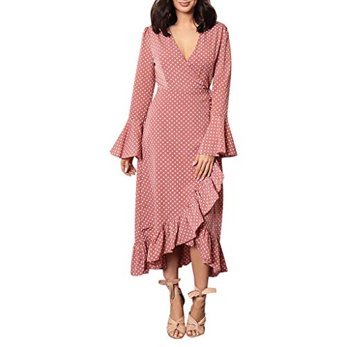 TWGONE Polka Dot Wrap Dress for Women V Neck Long Sleeve Ruffled Flounce Irregular Casual Midi Dresses(X-Large,Pink)