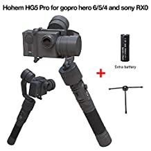 Hohem HG5 Pro Upgraded 3 Axis Stabilizer Handheld Gimbal for Gopro Hero 6/5/4/3, Sony RX0, Yi Cam 4K, AEE and Similar size Cams including extra battery and tripod stand