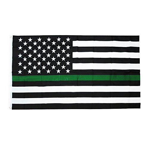 Time Roaming 3x5 Ft Thin Green Line USA Polyester Flag with Brass - Green Thin