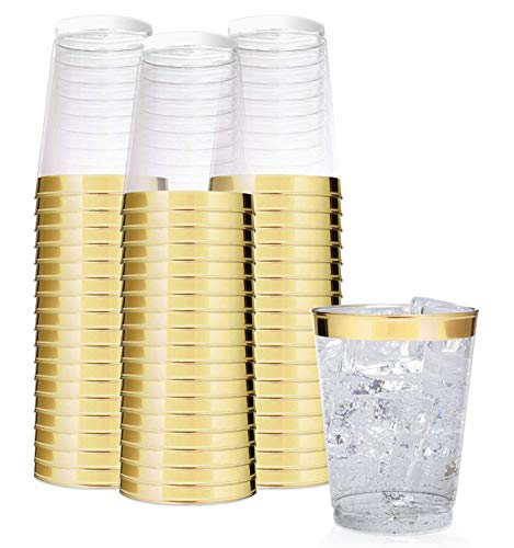 Elegant Gold Rimmed 14 Ounce Clear Plastic Tumblers Fancy Disposable Cups with Gold Rim Prefect for Holiday Party Wedding and Everyday Occasions 100 Pack