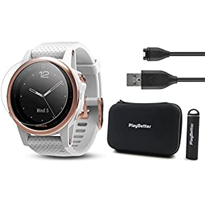 Garmin fenix 5S Sapphire (Rose Gold with White Band) Power Bundle | Includes HD Glass Screen Protector, PlayBetter Hard Case & PlayBetter Portable Charger | Multi Sport Watch, Sapphire | Bundle