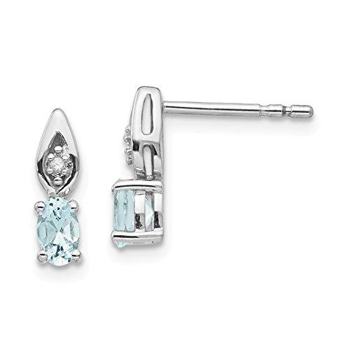 Aquamarine Diamond Post Stud Earrings Drop Dangle Birthstone March Set Style Fine Jewelry For Women Gift Set ()