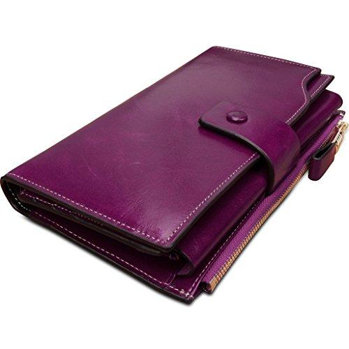 VANCOO Große Kapazität Luxus Wax Frauen-echtes Leder-Geldbörse mit Reißverschluss-Tasche (hochgradigem-Paket) (Rose Red) Purple